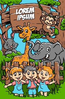 Feliz, jardim zoológico, ilustração