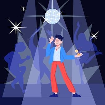Feliz jovem bonito dançando ao som da música em um clube. cara elegante segurando um coquetel. ilustração em grande estilo