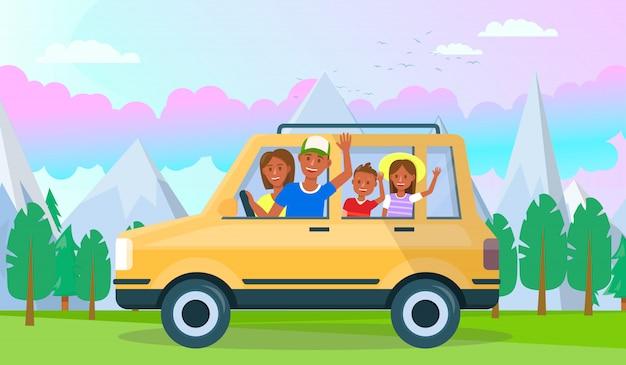 Feliz jovem pai com crianças viajando de carro