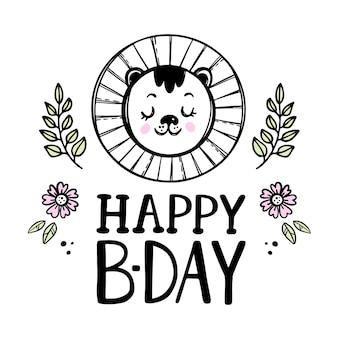 Feliz leão aniversário do bebê bonito animal festivo cartão comemorativo com flores. desenho animado desenhado à mão com clip-art de texto manuscrito