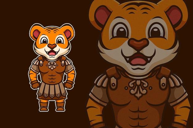 Feliz legião de tigres romanos com armadura
