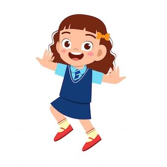 Feliz linda garota pronta para ir para a escola