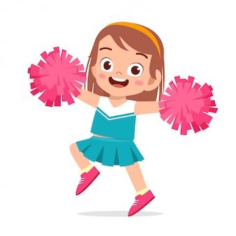Feliz linda garota usar uniforme bonito líder de torcida