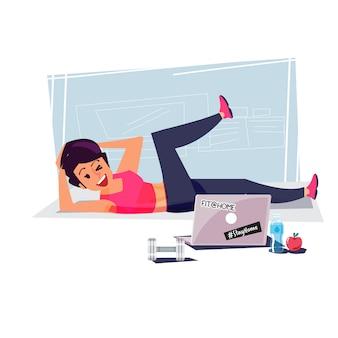 Feliz linda mulher desportiva no sportswear apertado fazendo exercícios