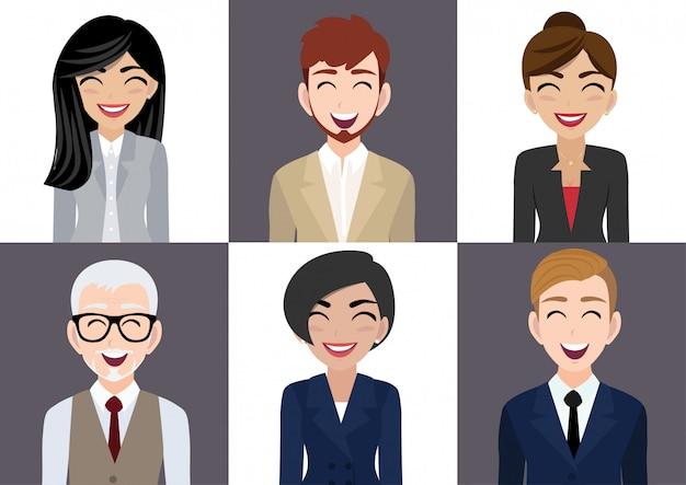 Feliz, local trabalho, com, sorrindo, homens mulheres, personagem desenho animado, em, roupa escritório