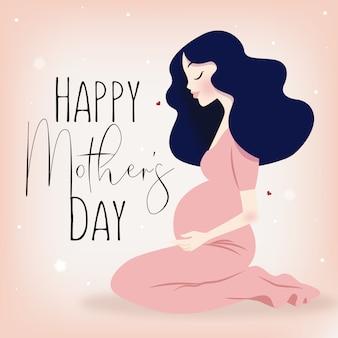 Feliz mãe dia grávida senhora