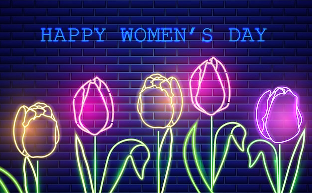 Feliz mãe dia tulipa flores luz de neon