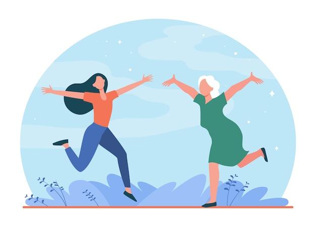 Feliz mãe e filha encontrando-se ao ar livre. sênior e jovem mulher encontrando-se com ilustração plana de braços abertos.