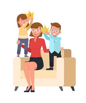 Feliz mãe e filha personagem vector design para o conceito de dia das mães. número 6