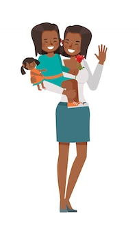 Feliz mãe e filha personagem vector design para o conceito de dia das mães.