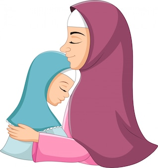 Feliz mãe muçulmana abraçando sua filha