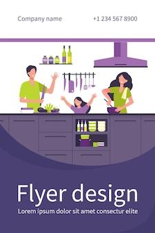 Feliz mãe, pai e filha cozinhando juntos e isolados modelo de folheto plana