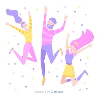 Feliz, mão, desenhado, estudantes, pular