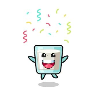 Feliz mascote do leite pulando de parabéns com confete colorido, design de estilo fofo para camiseta, adesivo, elemento de logotipo