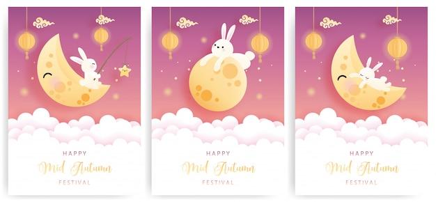 Feliz meados de outono cartão conjunto com coelhinho fofo e bolo da lua.