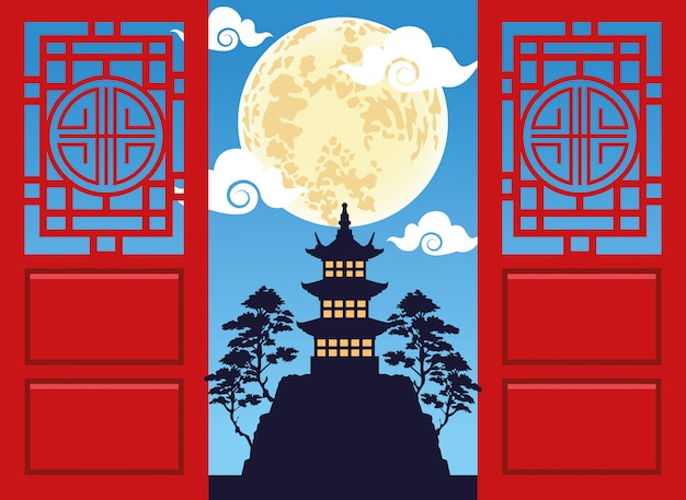 Feliz meados de outono festival cartão com castelo e lua
