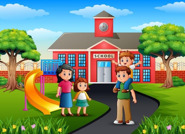 Feliz membro da família em frente ao prédio da escola