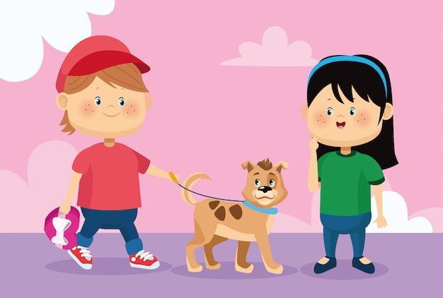 Feliz menina e menino andando com cachorro fofo