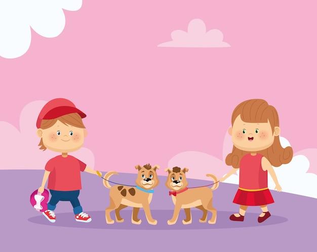 Feliz menina e menino com cachorros fofos