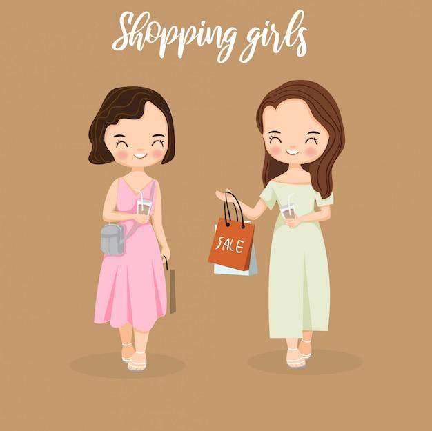 Feliz meninas amigo gosta de fazer compras
