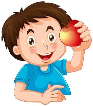 Feliz, menino, com, maçã