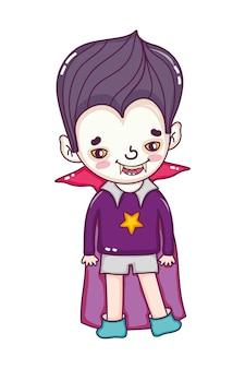 Feliz, menino, com, vampire, halloween traje