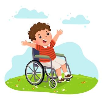 Feliz menino deficiente em uma cadeira de rodas