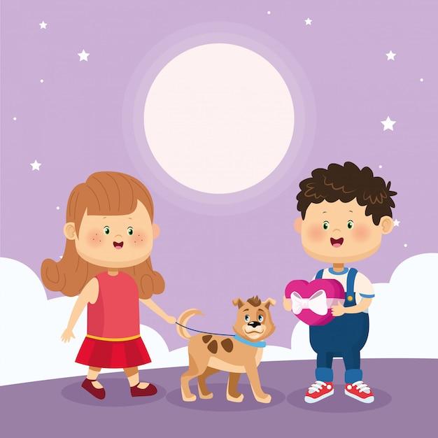 Feliz menino e menina com cachorro fofo