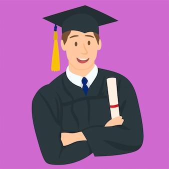 Feliz, menino, ligado, seu, dia graduação