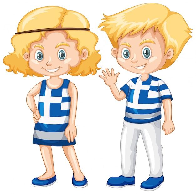 Feliz, menino menina, com, bandeira grécia, ligado, camisa