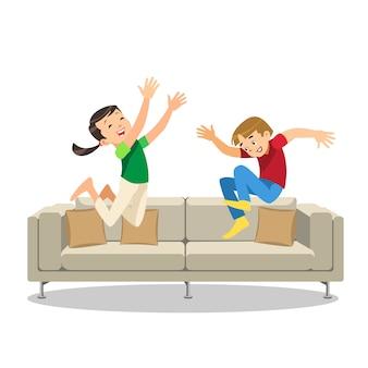 Feliz, menino menina, pular, ligado, sofá, caricatura, vetorial