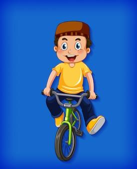 Feliz menino muçulmano andando de bicicleta