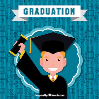 Feliz, menino, seu, diploma, fundo