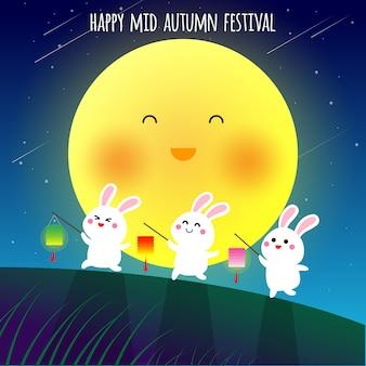 Feliz, mid, outono, festival, illustraion