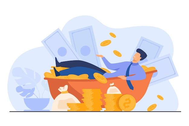 Feliz milionário tomando banho com dinheiro. homem rico e uma pilha enorme de dinheiro. ilustração vetorial para sucesso financeiro, empresário de sucesso, conceito de riqueza