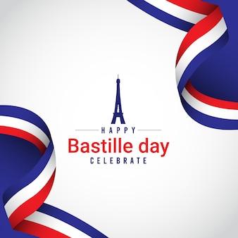 Feliz modelo de celebrações do dia frança bastille.