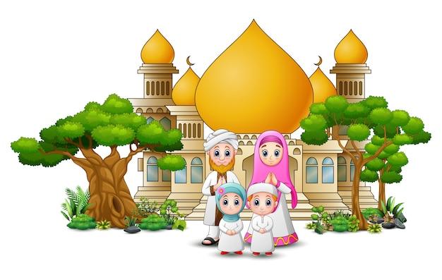 Feliz muçulmano crianças cartoon na frente de uma mesquita
