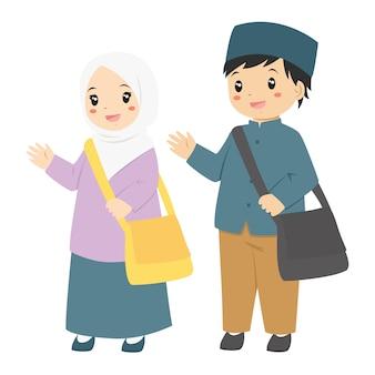 Feliz, muçulmano, estudantes, personagem, vetorial