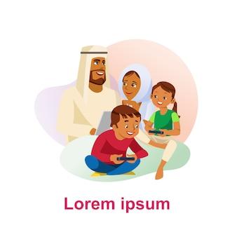Feliz, muçulmano, família, caricatura, vetorial, ilustração