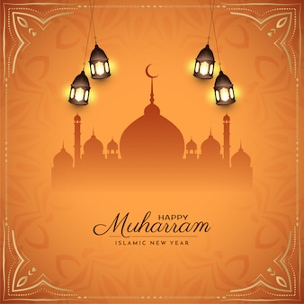 Feliz muharram religioso abstrato