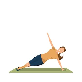 Feliz, mulher, fazendo, manhã, condicão física, desporto, malha