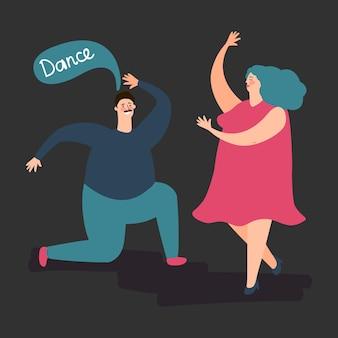 Feliz mulher gorda e homem dança. ilustração de casal dançando gordo bonito