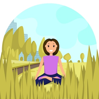 Feliz, mulher, sentando, posição lótus, cidade, parque