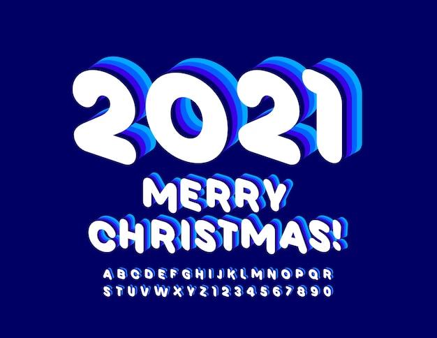 Feliz natal 2021. fonte 3d criativa. conjunto de letras e números do alfabeto azul e branco.