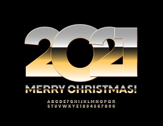 Feliz natal 2021. fonte de metal brilhante. conjunto de letras e números do alfabeto dourado