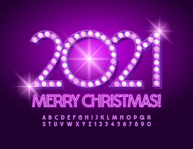 Feliz natal 2021. fonte de néon violeta. conjunto de letras e números do alfabeto