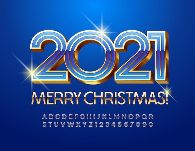 Feliz natal 2021. fonte de ouro e azul brilhante. letras e números do alfabeto 3d.