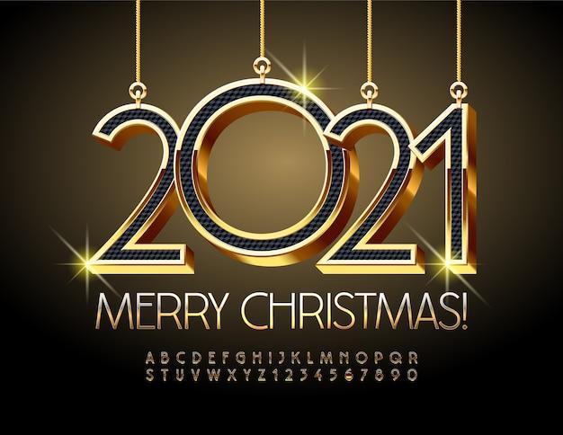 Feliz natal 2021. fonte de ouro. letras e números do alfabeto chique