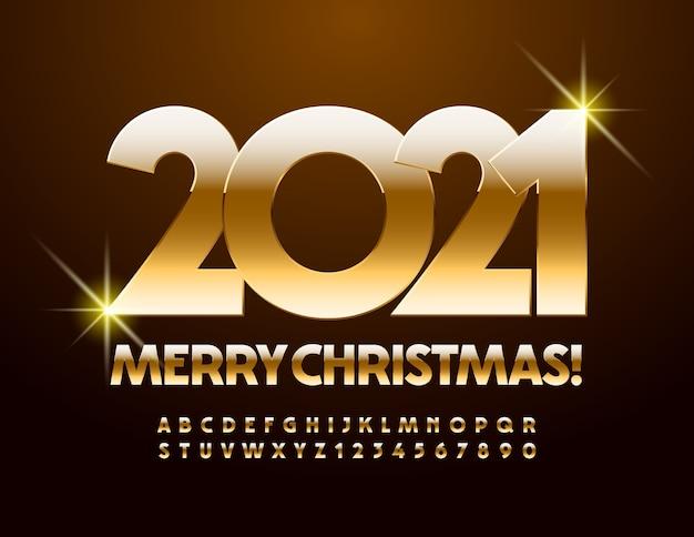 Feliz natal 2021. fonte metálica ouro. letras e números do alfabeto de luxo
