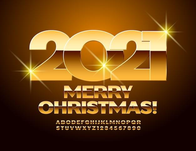 Feliz natal 2021. fonte premium brilhante. letras e números do alfabeto dourado